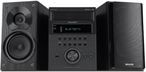 clos-up image of the Sharp XL-BH250 bluetooth stereo system-black