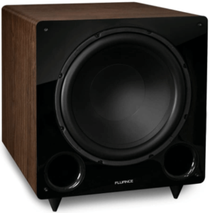 close up image of the Fluance DB12W 12-inch Subwoofer-Natural Walnut