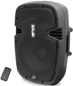 close up image of a black Powered Bluetooth 10 Inch Subwoofer with remote control by Pyle PA