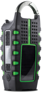 This is an image of a black and green Eton Scorpion II Emergency survival Radio with phone Charger, AM/FM and flashlight