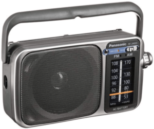 This is an image of a silver Panasonic Rf-2400D Am/FM Table Top radio