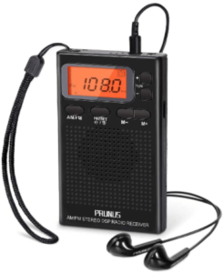 This is an image of the PRUNUS portable Radio with Earphones - Black
