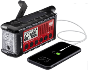 This is an image of a black and red Midland - ER310 Emergency hand crank Survival Radio with Flashlight and Phone Charger