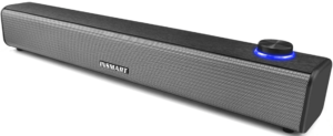 close up view of a black INSMART Wired Computer Soundbar