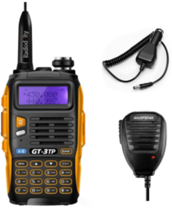 close up view of BAOFENG GT-3TP Mark III Ham Radio in black and yellow color