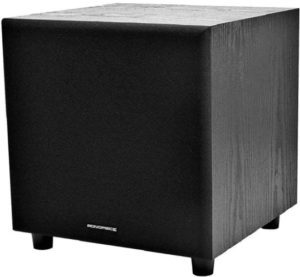 This is an image of a black Monoprice 8 Inch subwoofer