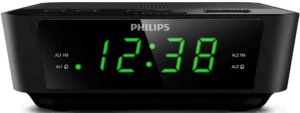 This is an image of PHILIPS Digital Alarm Clock Radio with LED Display in black color