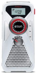 This is an image of a white Eton Hand Turbine emergency survival radio with USB Charger and LED Flashlight
