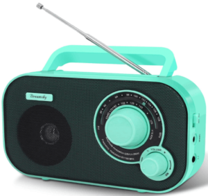 close up view of a DreamSky Portable AM FM Radio in green color