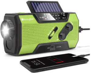 This is an image of a green RunningSnail solar Emergency hand crank Survival Radio with Flashlight and Phone Charger