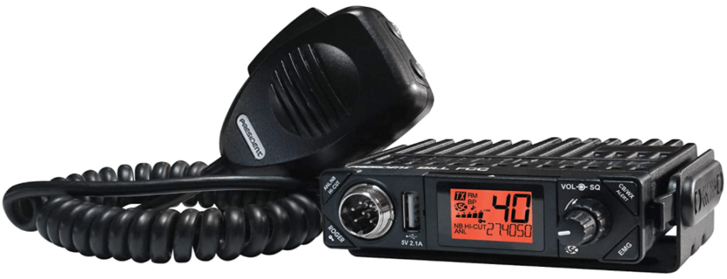image of a black President Electronics BILL CB Radio with frequency counter for Truck Drivers
