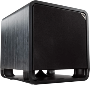 """close up view of the Polk Audio HTS black 12"""" subwoofer"""