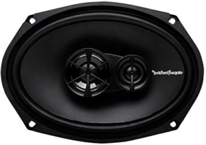 """close up view of the Rockford Fosgate R169X3, 6"""" x 9"""" coaxial 2 Speaker in black color"""