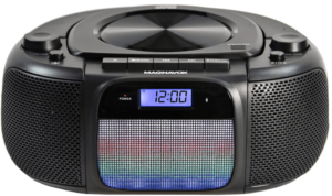 image of the Magnavox MD6972 Portable Bluetooth CD Player Boombox in black color
