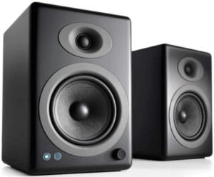 image of two black Audioengine A5+ Plus Wireless Speaker