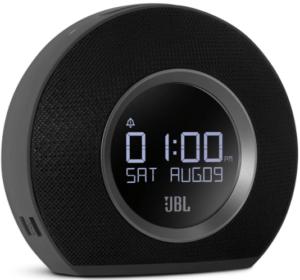 close-up view of the JBL Horizon bluetooth clock radio with USB charging-black