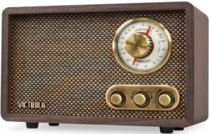 This is an image of a brown Victrola Retro Wood Bluetooth FM/AM tabletop radio