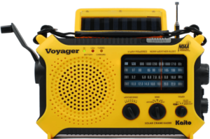 This is an image of a yellow Kaito KA500 solar Emergency Survival Radio with Flashlight and Phone Charger