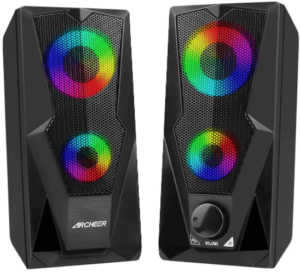 This is an image of two PC Gaming Speakers with LED lights in black color by Archeer