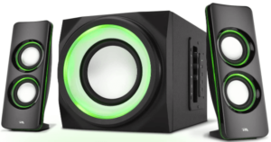 close up view of 2 Bluetooth Speakerand 1 subwoofer with LED lights by Cyber Acoustics -black