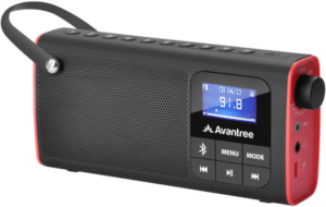 This is an image of a black Avantree SP850 Rechargeable FM tabletop Radio with Bluetooth Speaker and SD Card MP3 Player , LED Display, Small Handheld Pocket
