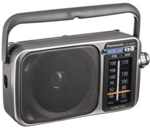 close up view of a silver Panasonic Rf-2400D Am/FM Radio