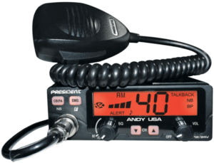 close up image of President ANDY Compact AM CB Radio with transceiver- black