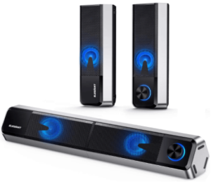 close up image of the Elegiant Bluetooth Mini Soundbar and PC Speakers for gaming,set of 3-silver