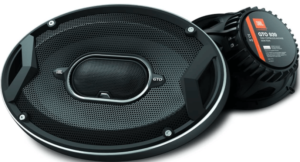 """close up view of theJBL GTO939 GTO Series 6x9"""" black car coaxial audio peakers"""