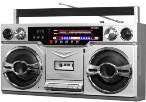 close up view of the silver Victrola retro Bluetooth Boombox with Carrying Handle and Cassette Player