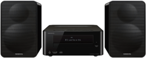 clos-up image of Onkyo CS-265 audio stereo system with bluetooth in black color