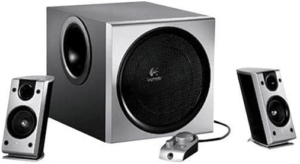 close up image of the Logitech Z-2300 Speaker System with Subwoofer, set of 3- silver