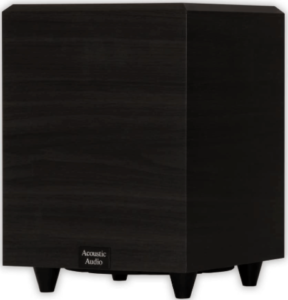 close up image of a black Acoustic Audio 8-Inch Powered Subwoofer
