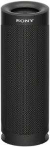 close up image of the Sony SRS-XB23 bluetooth portable speaker in black color