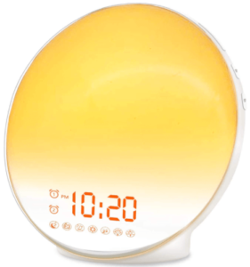 close up image of the JALL Wake Up alarm clock-white