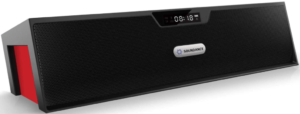 This is an image of a black Soundance FM tabletop Radio with Digital LED