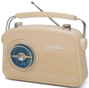 This is an image of the Byron Statics FM AM Portable Radios - cream color