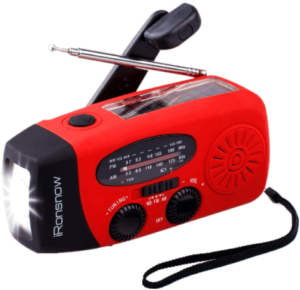 This is an image of the iRonsnow IS-088 Solar Hand Crank Emergency Radio with Flashlight and Phone Charger- red