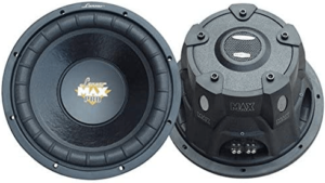 This is an image of a black Lanzar 12inch car subwoofer Speaker