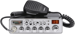 image of a Uniden PC78LTX 40-Channel Trucker's CB Radio with frequency counter- silver