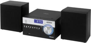 This is an image of the Jensen Modern JBS-200B bluetooth CD Music System-black