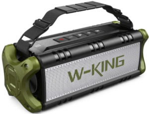 image of the W-KING Portable Wireless Bluetooth Boombox with caring handle- black and green