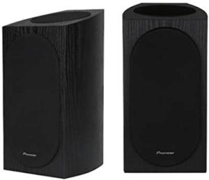 close up image of two Pioneer SP-BS22 Bookshelf Speakers- black