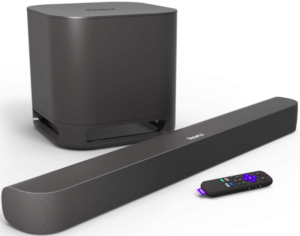 This is an image of a black Roku Smart Soundbar and a Wireless Subwoofer with Remote Control