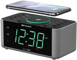 This is an image of the Emerson Alarm Clock Radio with bluetooth and wireless phone Charger -black