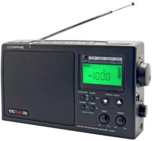 This is an image of a black C. Crane tabletop radio