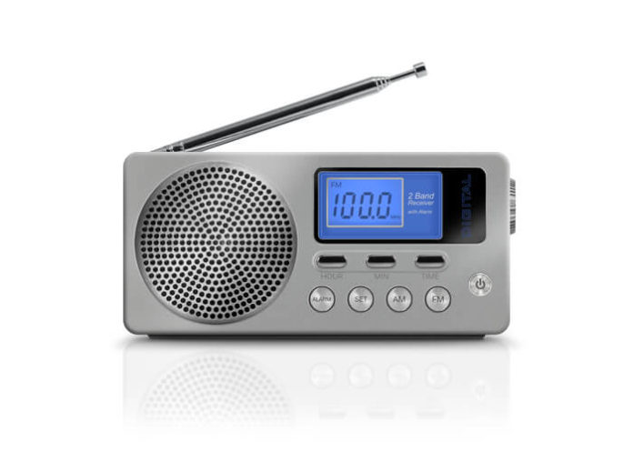 This is an image of a silver portable radio